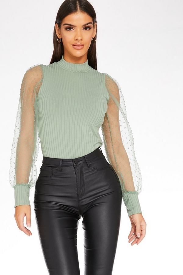 Sage Polka Dot Puff Sleeve Jumper