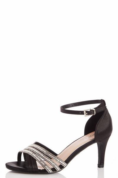 Black Diamante Low Heel Sandals