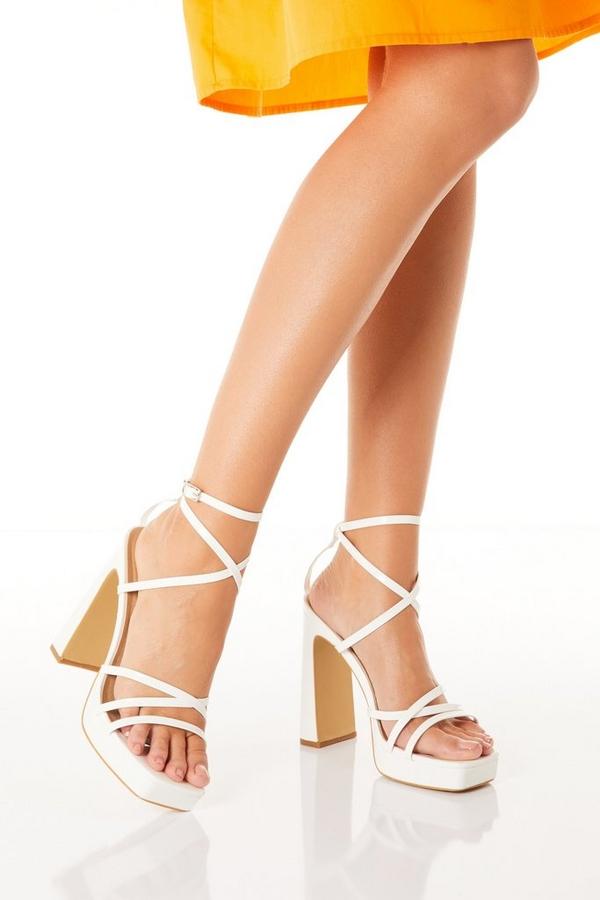 White Platform Heeled Sandal