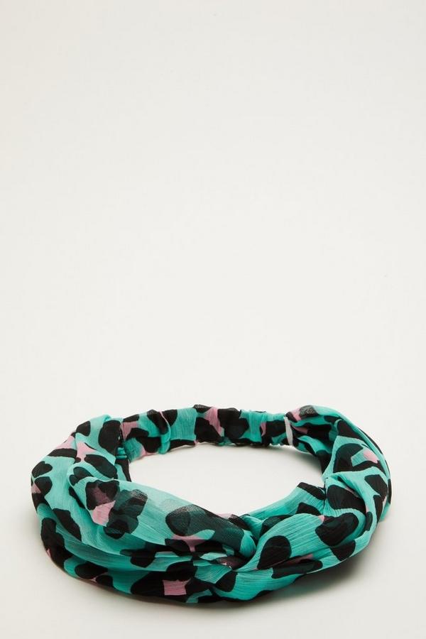Green Leopard Print Headband