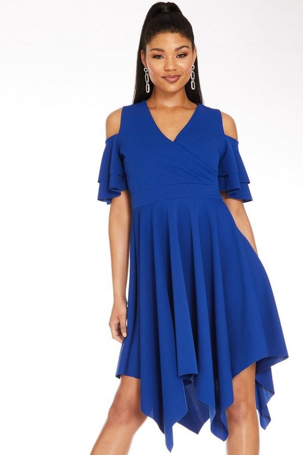 Royal Blue Cold Shoulder Midi Dress