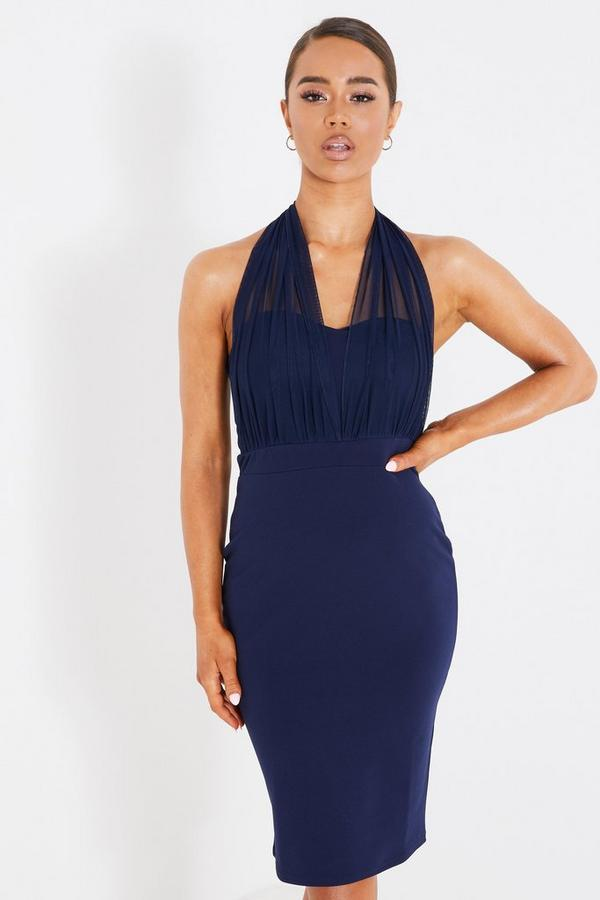 Navy Mesh Halterneck Midi Dress