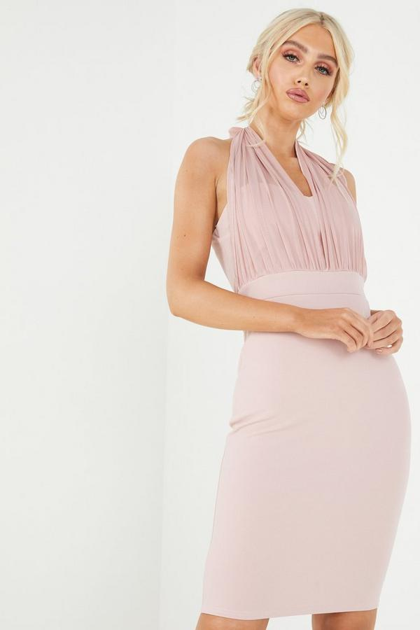 Pink Mesh Halterneck Midi Dress