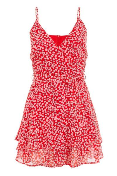 Red & White Floral Wrap Playsuit