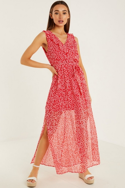 Red & White Floral Wrap Maxi Dress