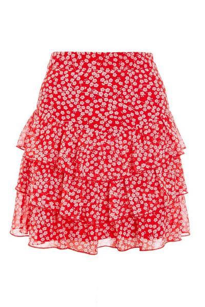 Red & White Floral Mini Skirt