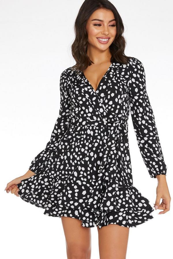 Black Smudge Print Wrap Dress
