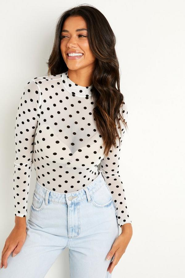 White Polka Dot Mesh Bodysuit