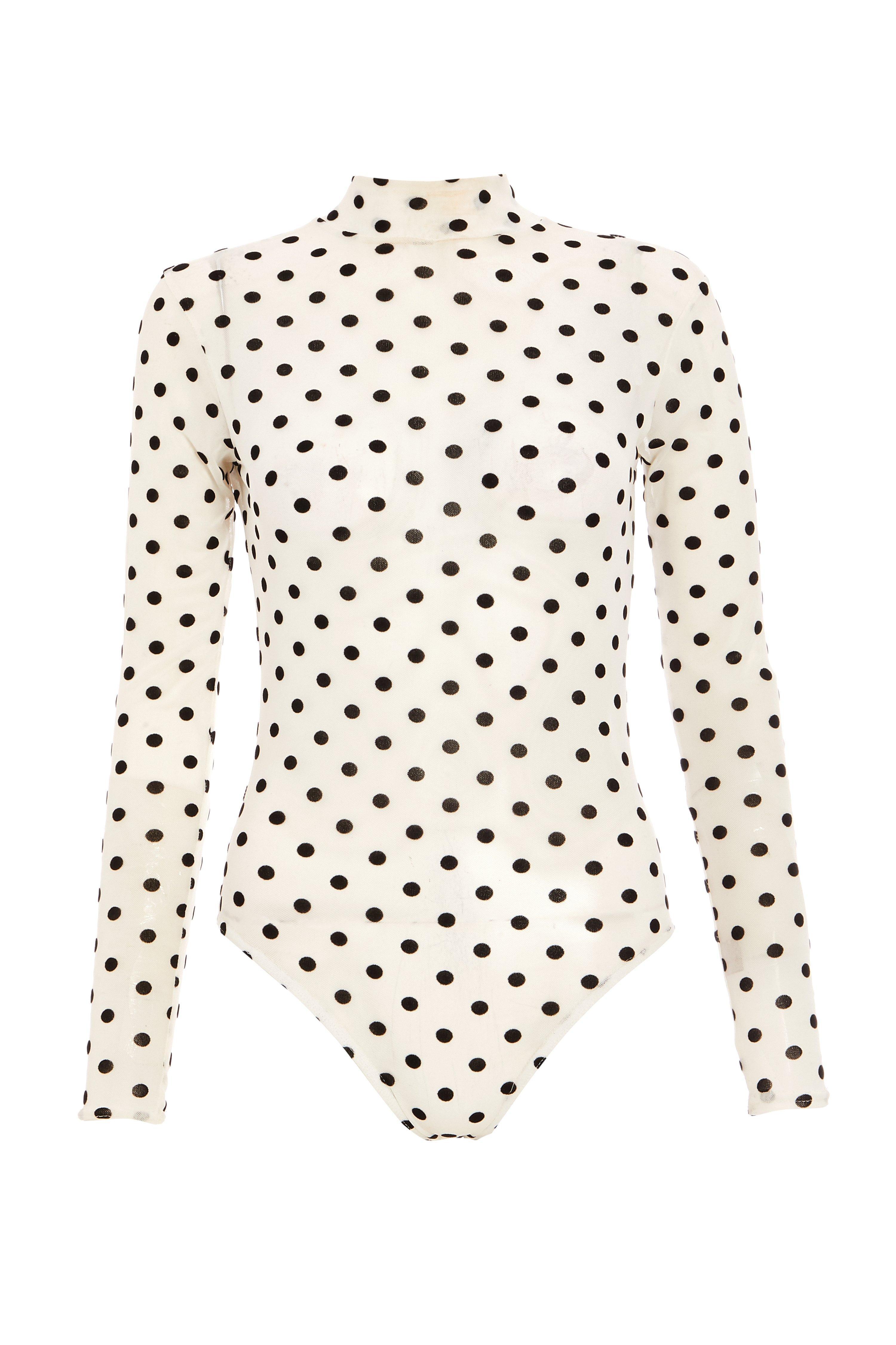 White Polka Dot Mesh Bodysuit