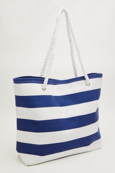 Navy Stripe Beach Bag