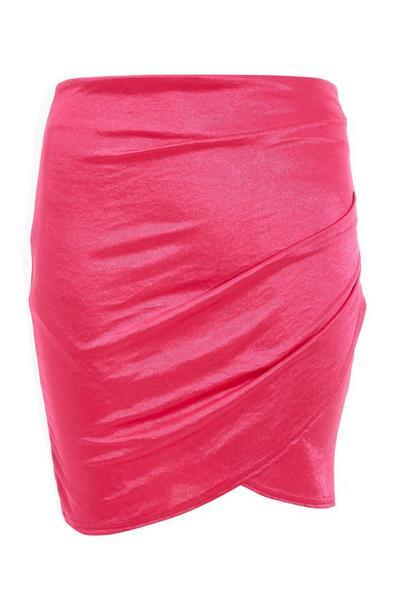 Pink High Waist Wrap Skirt