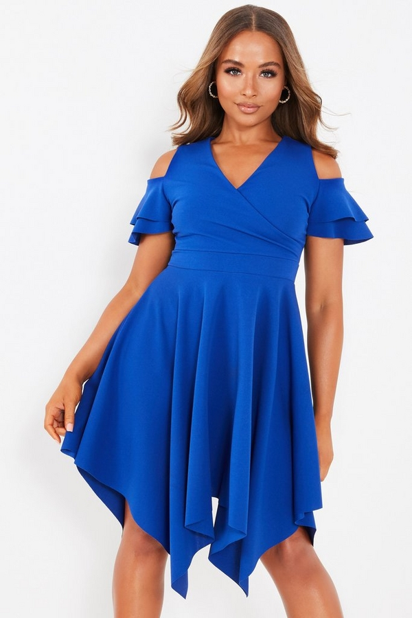 Petite Blue Cold Shoulder Dress