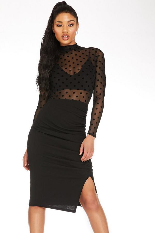 Black Ruched Midi Skirt
