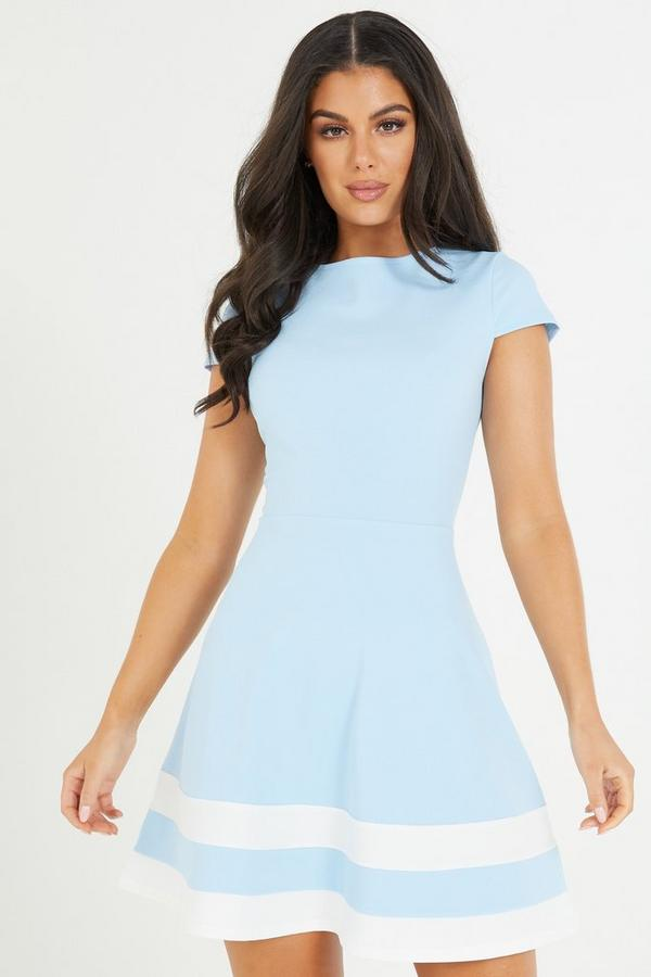 Blue Cap Sleeve Skater Dress