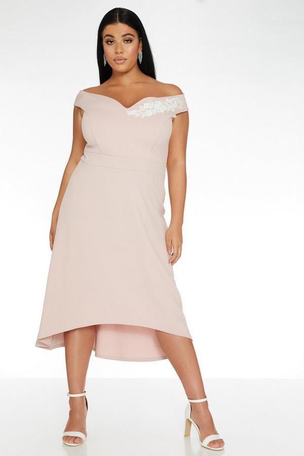 Curve Pink Dip Hem Dress