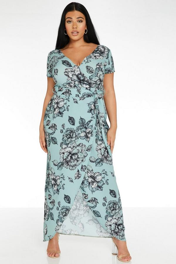 Curve Sage Floral Maxi Dress