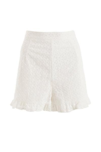 White Broderie Frill Shorts