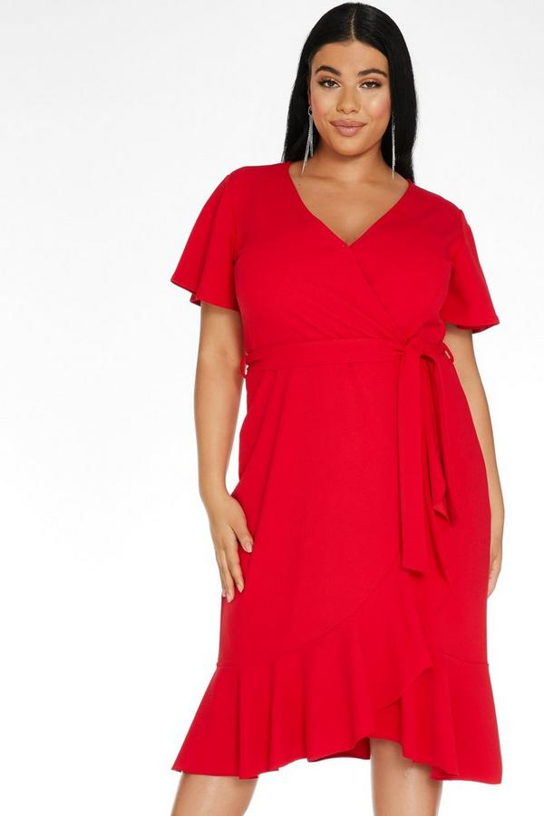 Curve Red Wrap Midi Dress