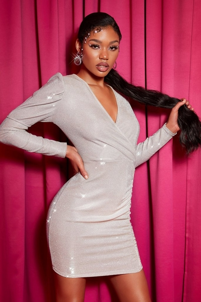 Silver Glitter Ruched Dress