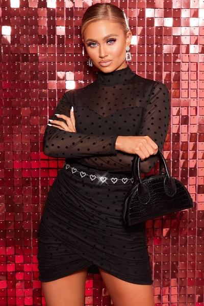 Black Polka Dot Mesh Sleeve Dress
