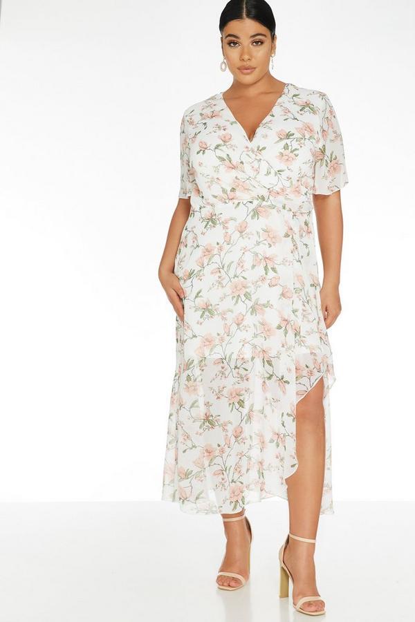Curve White Floral Wrap Maxi Dress