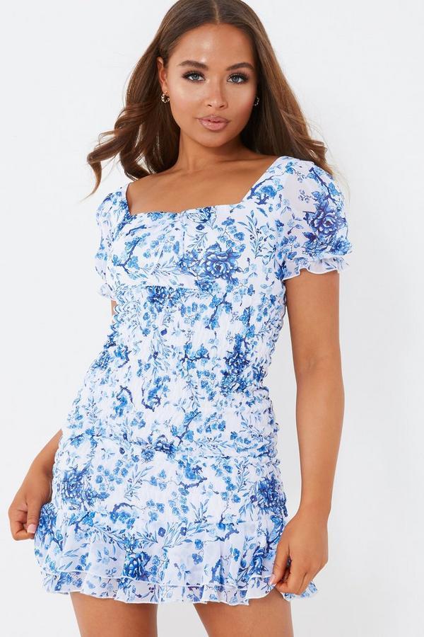 Petite White Floral Shirred Bodycon Dress