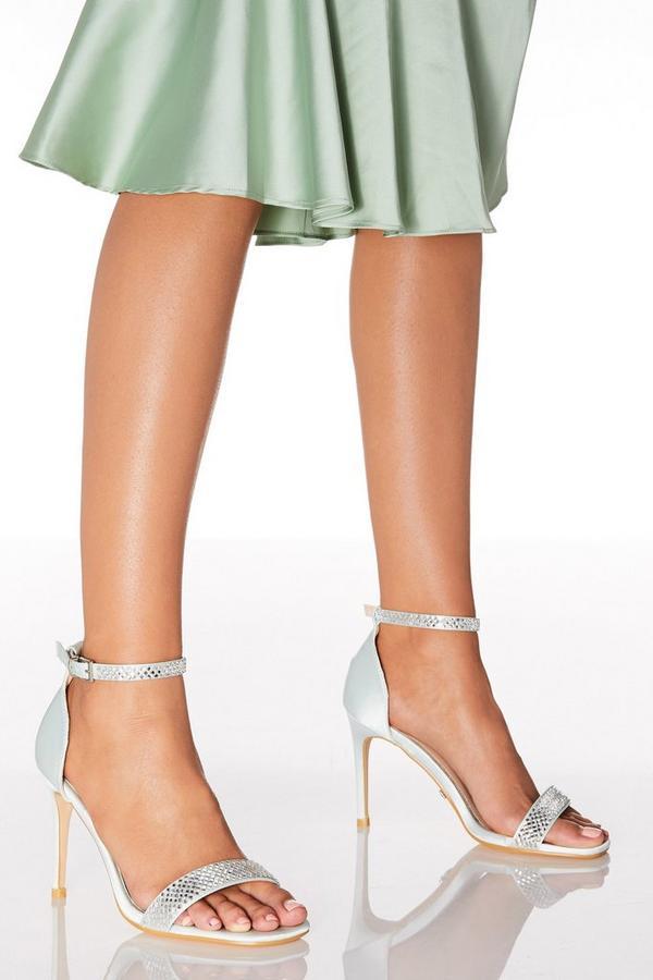 Mint Satin Embellished Heeled Sandals