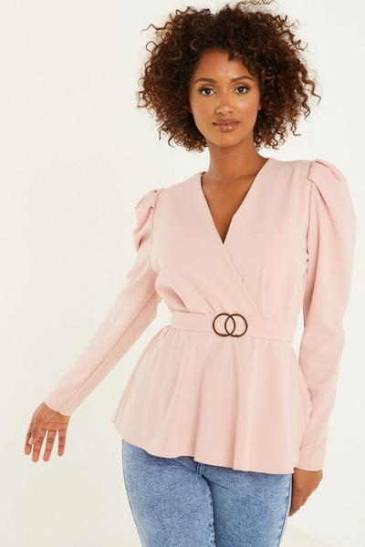 Pink Puff Sleeve Peplum Top