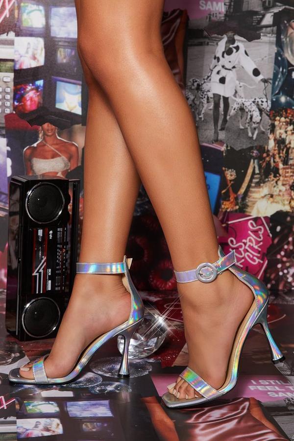 Iridescent Flare Heeled Sandal