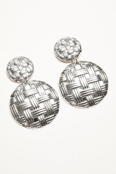 Silver Circle Woven Earrings