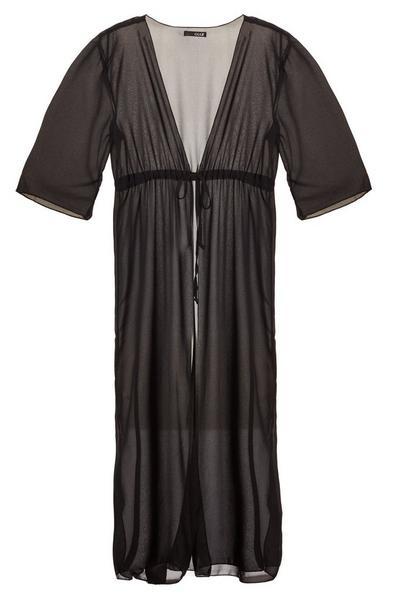 Black Long Tie Waist Kaftan