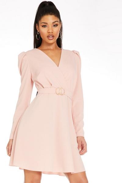 Pink Puff Sleeve Skater Dress