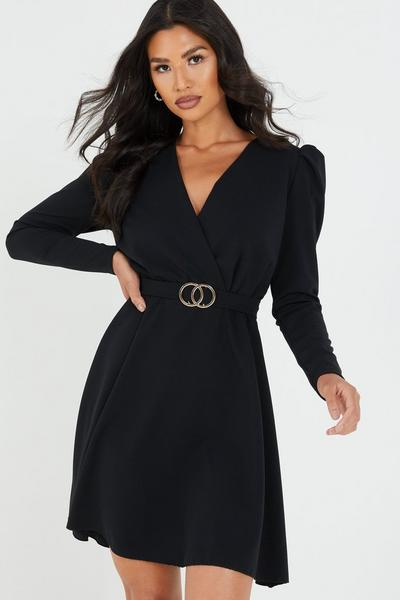 Black Puff Sleeve Skater Dress
