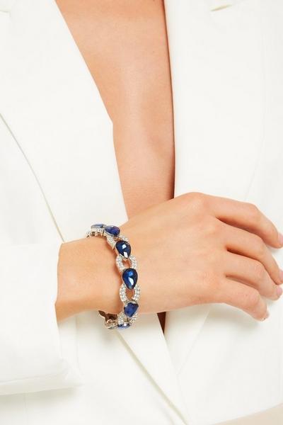 Navy Teardrop Jewel Stretch Bracelet