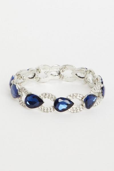 Navy & Silver Jewel Stretch Bracelet