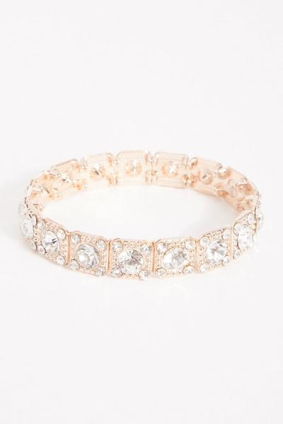 Rose Gold Diamante Stretch Bracelet