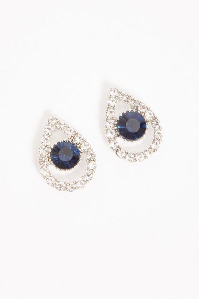 Navy Diamante Teardrop Stud Earring