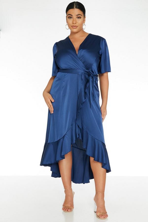 Curve Navy Wrap Midi Dress