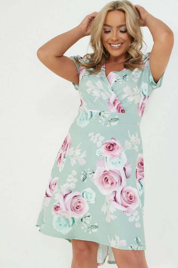 Curve Sage Floral Wrap Dress