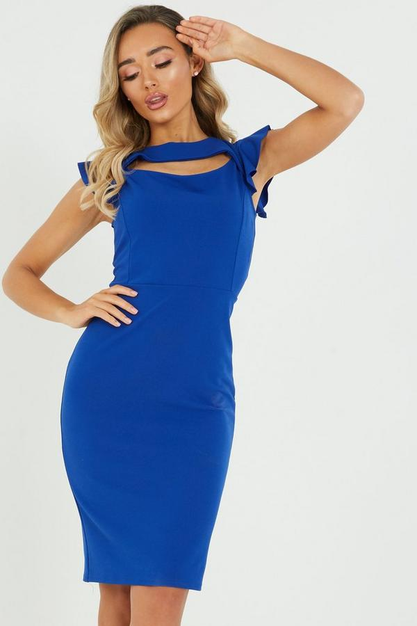 Royal Blue Frill Sleeve Midi Dress