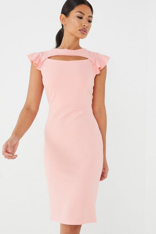 Coral Frill Sleeve Midi Dress