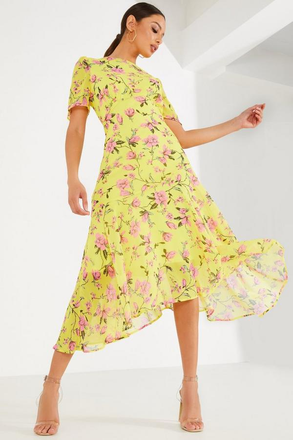 Yellow Floral Chiffon Midi Dress