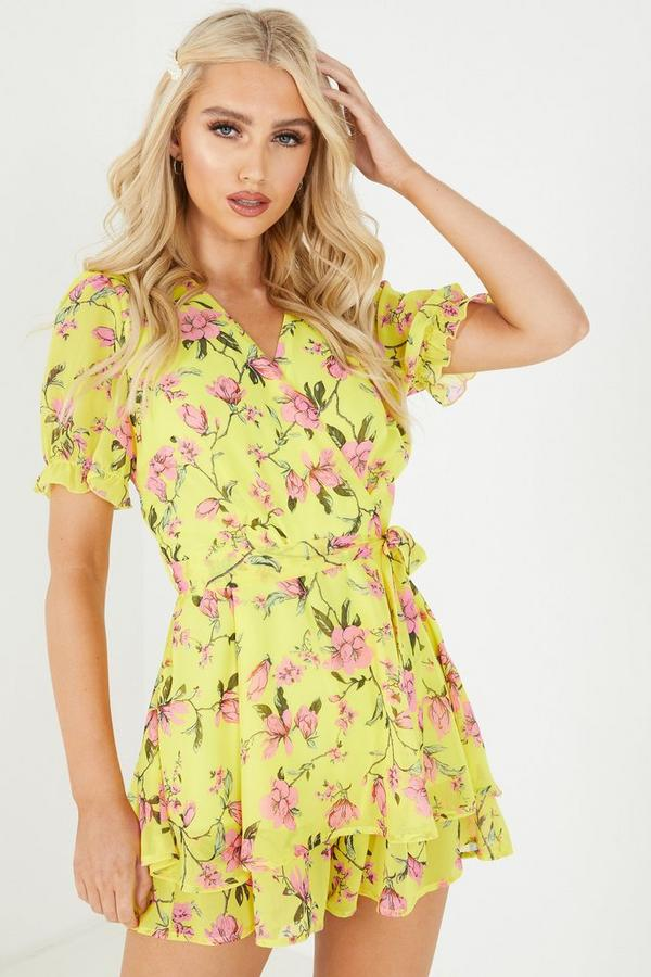 Yellow Floral Chiffon Frill Playsuit