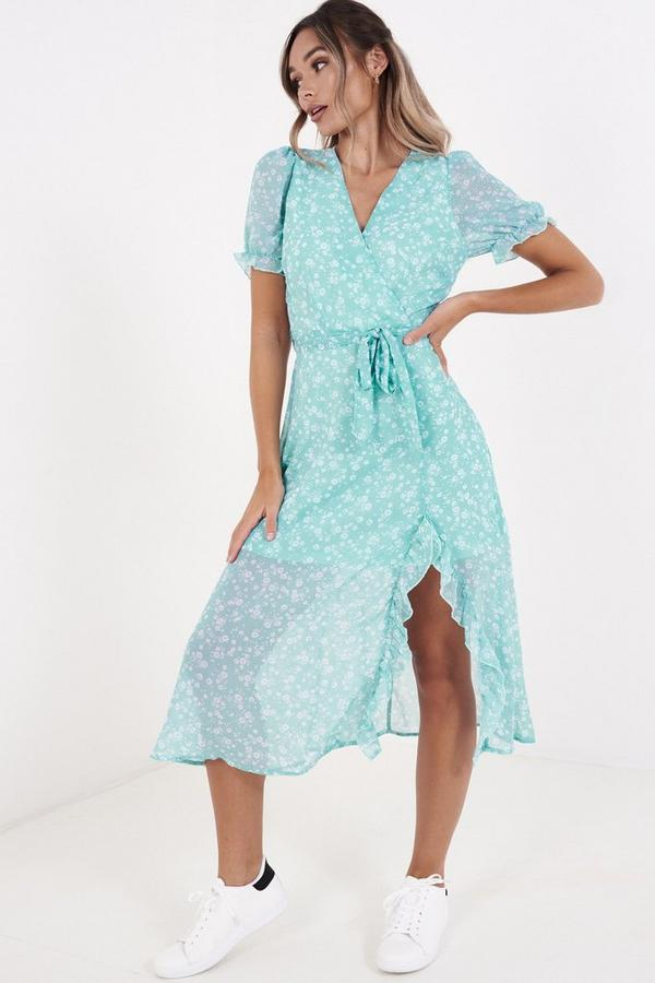 Aqua Chiffon Floral Wrap Midi Dress