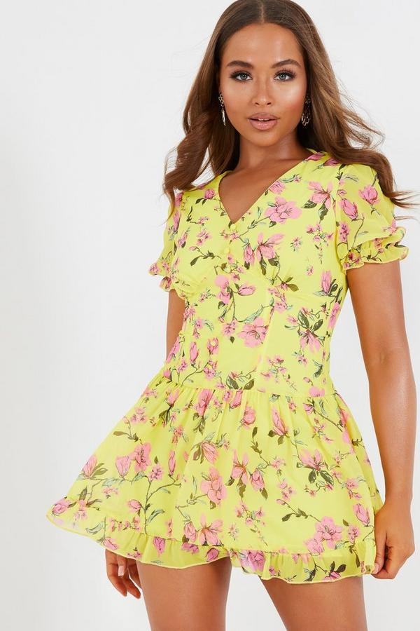 Petite Yellow Floral Chiffon Frill Dress