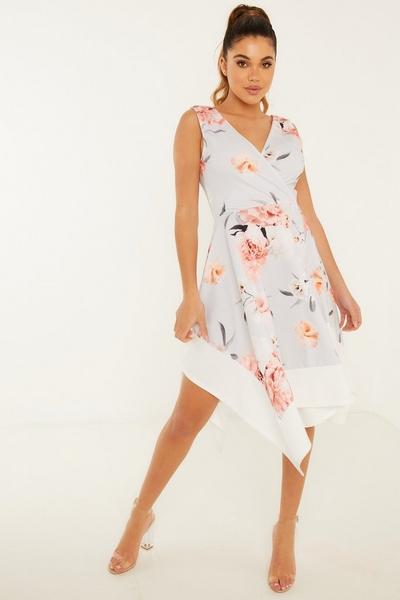 Grey Floral Hanky Hem Dress