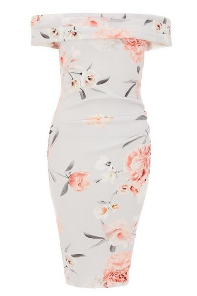 Grey Floral Print Bardot Midi Dress