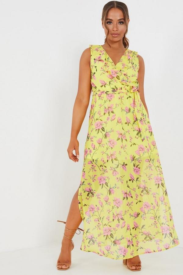 Petite Yellow Floral Maxi Dress