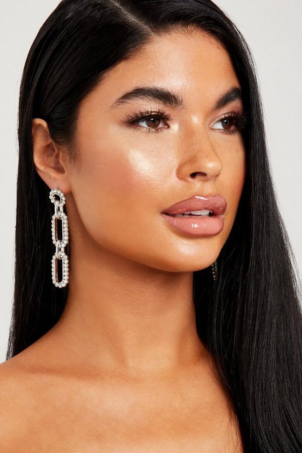 Silver Diamante Chain Earring