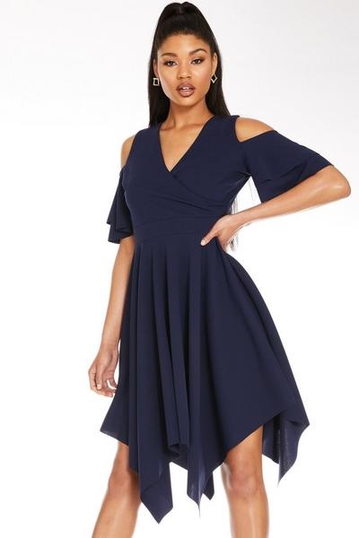 Navy Cold Shoulder Midi Dress